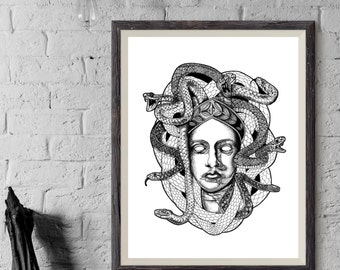 THE PROTECTRESS - Art Print - Medusa Design Greek Mythology Illustration - Dotwork Linework - Dark Art - Tattoo - Blackwork
