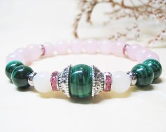 Malachite Bracelet Rose Quartz Bracelet Rainbow Moonstone Bracelet Healing Bracelet Gemstone Bracelet Wrist Mala Bracelet Fertility Bracelet