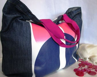 Jeans Fabric bag with writings