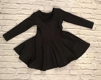 Girls basic twirl dress long sleeve baby toddler kids playdress
