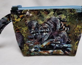 Raccoons Quilted Wristlet