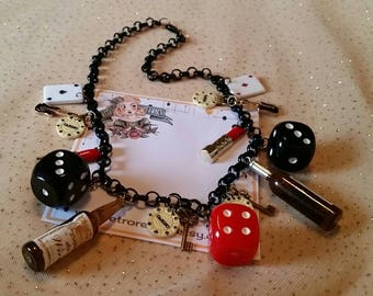Vice is Nice // Viva Las Vegas necklace set // Rockabilly charm necklace and earrings
