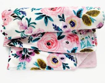 Baby Blanket Floral Minky - Baby Shower gifts girl - Baby Blankets Girl - New Baby Gift - Boho Nursery - Baby Girl - Stroller Blanket