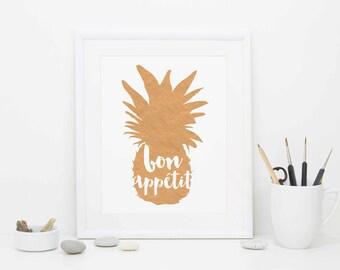 Bon Appetit Print, Digital Download, Printable Art, Kitchen Print, Rose Gold Foil Print, Pineapple Art
