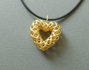 Mesh Heart - 3D Printed Pendant in Gold Plated Steel