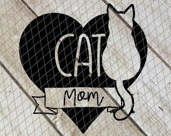 "Cat Mom Decal 4"" - Cat Momma, Kitty Mom, Kitten Mom, Mom of Cats"