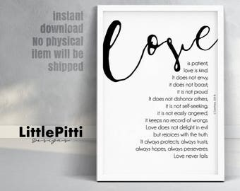 Love is patient, bible verse, wedding decor, 1 Corinthians 13, anniversary gift, Gift for Couple, christian wall art, bridal shower gift