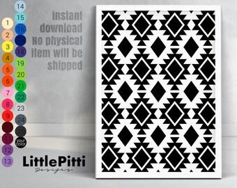 Aztec pattern print, tribal digital print, tribal wall art, tribal pattern, aztec digital, black and white download, tribal print pattern