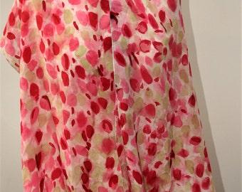 Hand paintd pink petals silk scarf