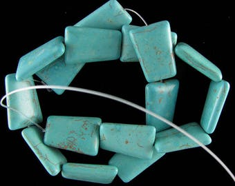 "25mm blue turquoise ladder beads 16"" strand 17588"
