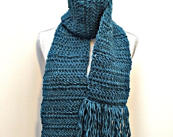 handcrafted crochet fringed scarf