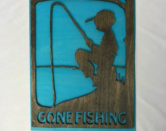 Wooden Sign Gone Fishing - Decoration for Boys