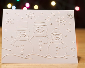 Christmas Cards Set, 3 Snowmen, Embossed Christmas Cards, Christmas Cards, Christmas Cards Boxed Set, White Christmas Cards Set of 10