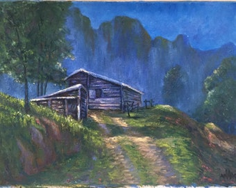thai house in the mountains oil painting