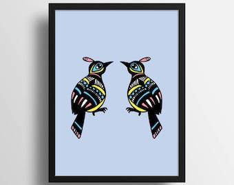 Exotic birds Poster Print - Illustration