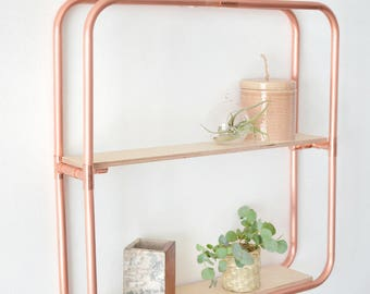 Copper Rounded Square Shelf Wall Hanging