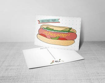 greetings from chicago hot dog post card