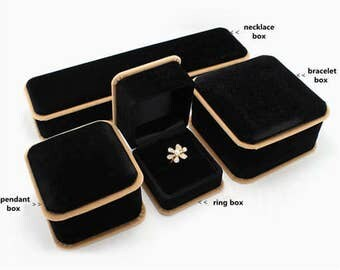 Black with Golden Velvet Jewelry Box/Gift Boxes/ Ring Package Boxes/Jewelry Accessories /4 Sizes