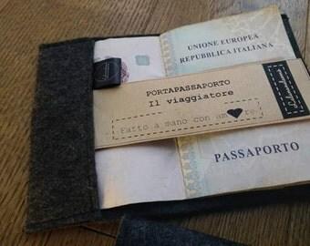 Passport - cover - cover passport - felt case - documents - travel - TRAVELER