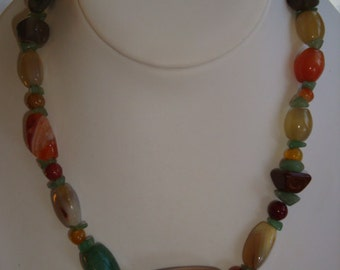 Vintage Polished Tumbled Natural Stone Necklace
