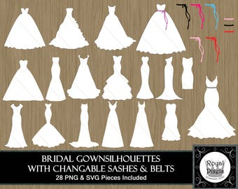 Wedding Dress Silhouette Clip Art Set - 28 Piece - Bridal Gown Silhouette - 7 inches - Instant Download - Printable - PNG & SVG #32