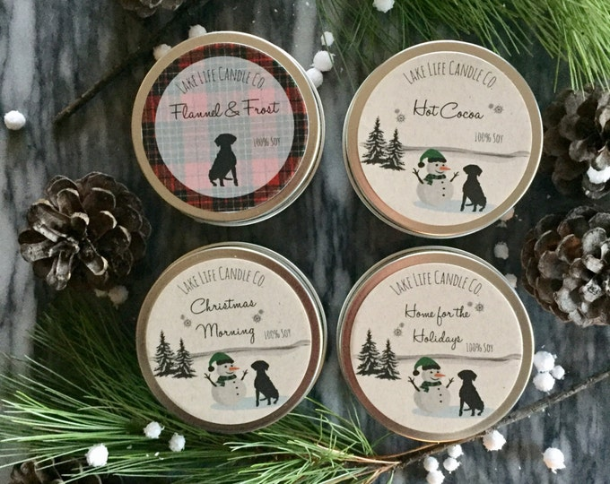 Holiday Travel Tin Handmade Soy Candles: Holiday Collection by Lake Life Candle Co.