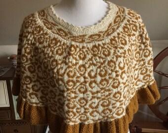 Hand-knit Fairisle Baby Alpaca Poncho