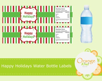 Happy Holidays Water Bottle Labels, Waterproof Christmas Stickers, Water Bottle Wraps, Christmas Party Favors, Happy Holidays Stickers