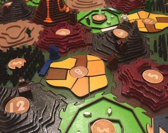 3D Settlers of Catan Laser Cut Hexagon Hex Tiles and Pieces