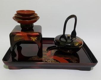 Japanese Traditional Wedding Ceremony Lacquer Tosoki Sake Set, Urushi Nuri Shikki Teapot and Teacups in a Tray, CecysAsianShop
