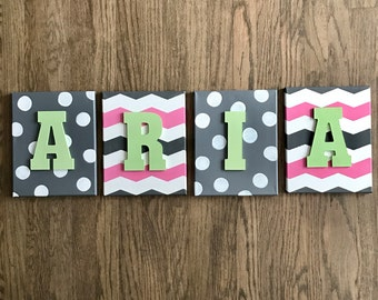 Wood canvas letters