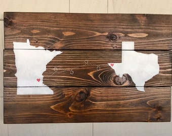 Custom State-to-State Wooden Sign