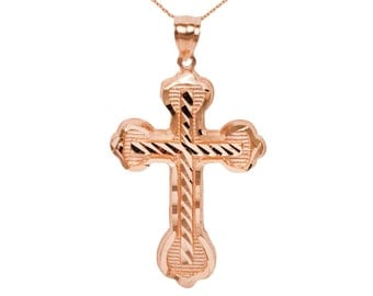 10k Large Rose Gold Cross Necklace