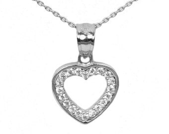 925 Sterling Silver Cubic Zirconia Heart Necklace
