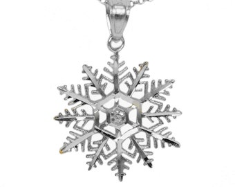 925 Sterling Silver Snowflake Necklace