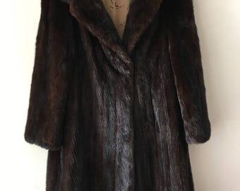 Brown mink fur long coat women size medium .