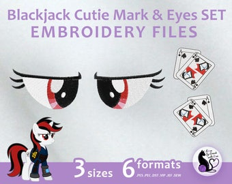 My Little Pony - Blackjack Cutie Mark & Eyes SET - Embroidery Machine Design