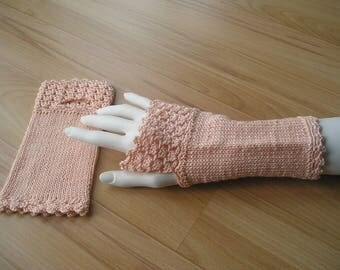 knitted arm warmers with crochet border and thumb hole, apricot, cotton