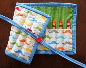 Mustache Crayon Holder, Crayon Roll Up, Crayon Tote, Geekly Chic, Modern, Crayon Roll, Boy, Blue, Green
