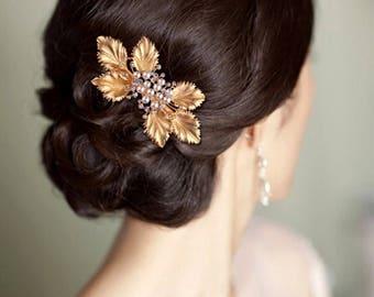 Bridal Gold Pearl Leaf Hair Barrette, Hair Accessory