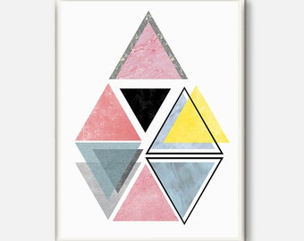Scandinavian Art, Printable Art, Triangle Print, Modern Art, Wall Decor, Wall Art, Digital Download, Scandinavian Poster, Pink and Grey Art