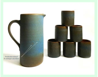Vintage Studio-Pottery Set (Pitcher/Jar/Jug + 6 Cup/Mug) · RUDI STAHL Höhr-Grenzhausen · Mid Century West German Pottery / 60s 70s Ceramics