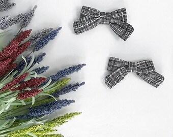 Set of 2 Hair Bows, Hair Bow, Hair Clip, Grey Hair Bows, Birthday Hair Bow, Photo Prop Hair Bow