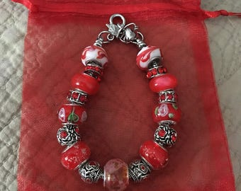 Shades of Red european style bracelet