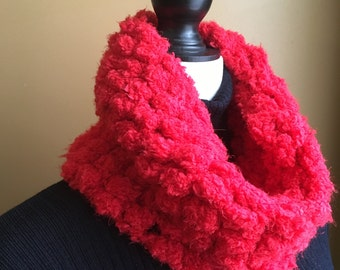 Red Cowl, Red Scarf, Infinity Scarf, Neck Warmer, Chunky Cowl