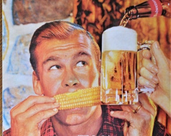 1960 Budweiser Beer ad.  Vintage Budweiser Beer ad. Sweet Corn and Budweiser - Where there's Life...there's Bud.