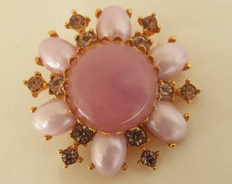 Pink Glass Pearl Brooch 1950's Centerpiece