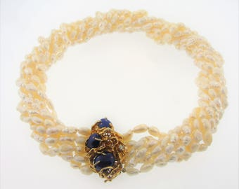 14K Yellow Gold 0.36ct Diamonds Multi-Strand Rice Pearls Choker Necklace