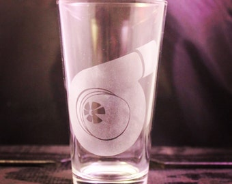Sandblasted Turbo Pint Glass - Car and Automobile Glassware - Wine Glass - Pilsner Glass - Beer Glass - Gift Ideas - Gifts for Him