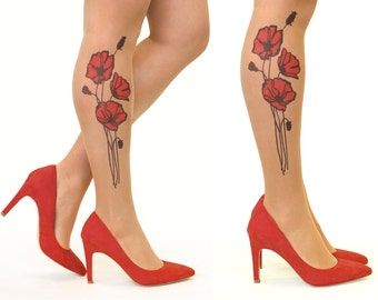 Tattoo Tights/Pantyhose with Red Poppy Flowers - FREE SHIPPING